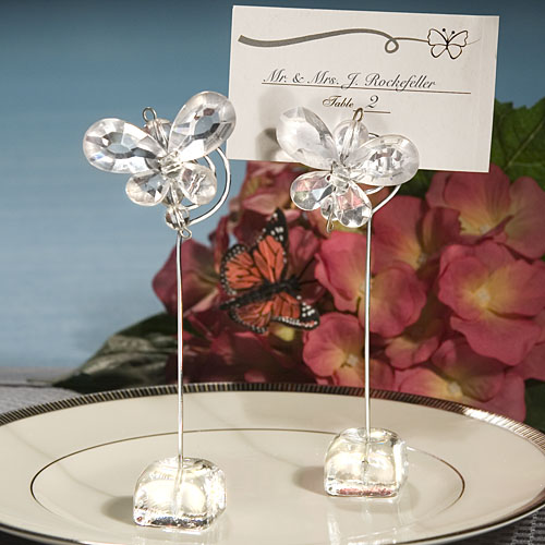 Crystal Butterfly Place Card Holder Wedding Favors